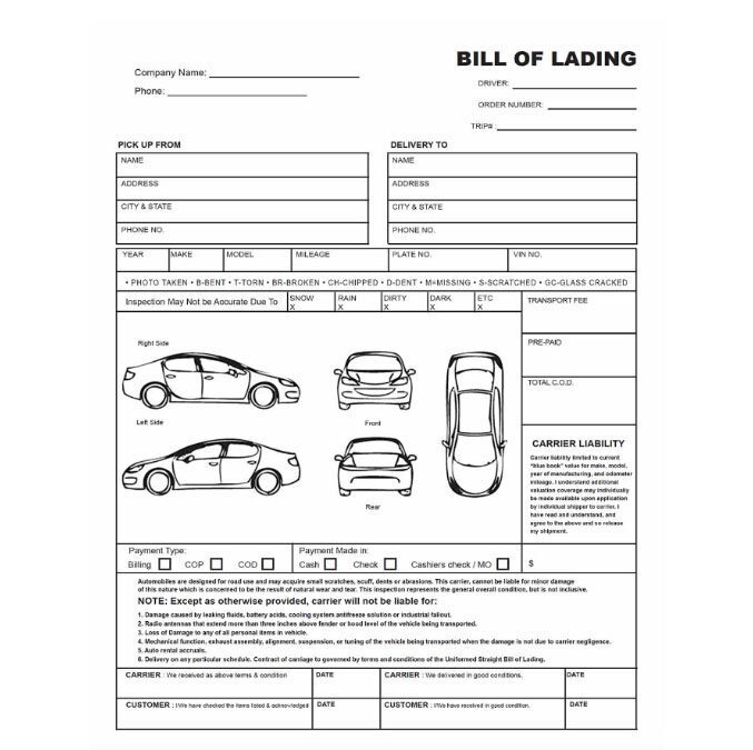 Bill Of Lading  National Express Auto Transport