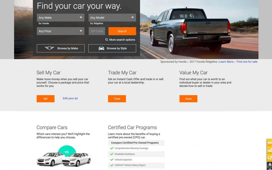 auto trader website purchasing a car