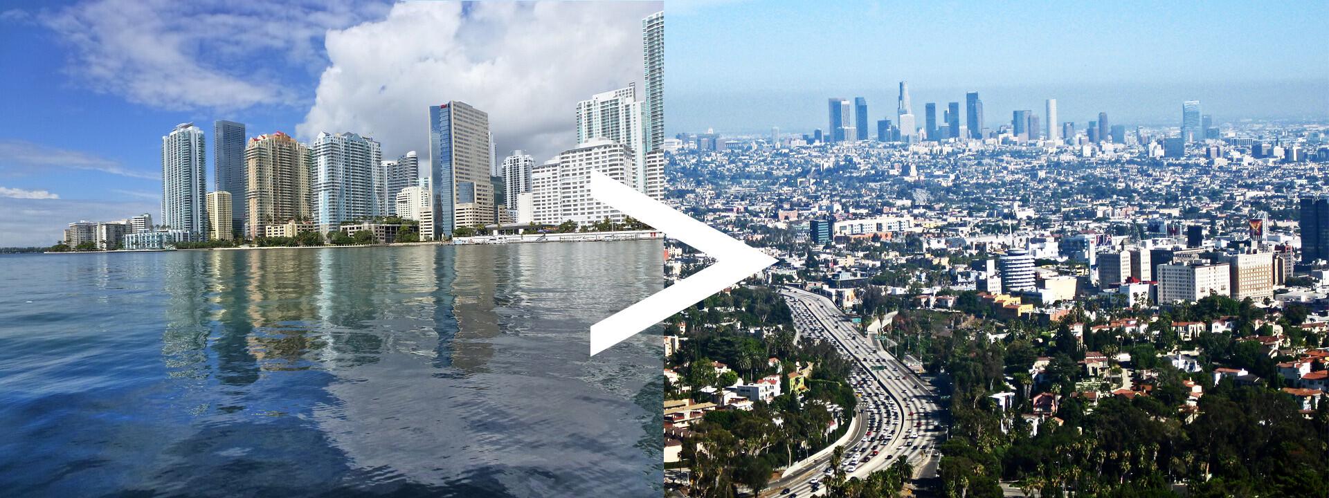 Auto Transport Los Angeles to Miami Route