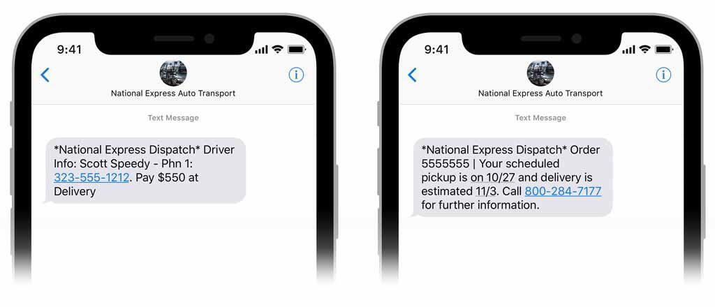 text updates auto transport