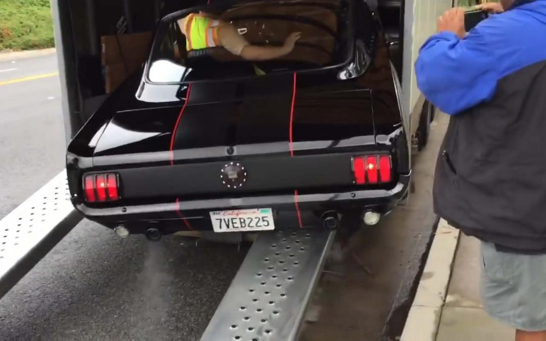 mustang slipping off ramp bad auto transporter!