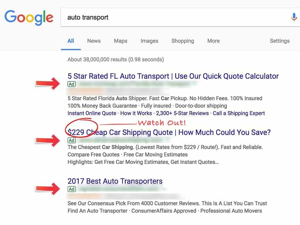 advertised auto transport listings