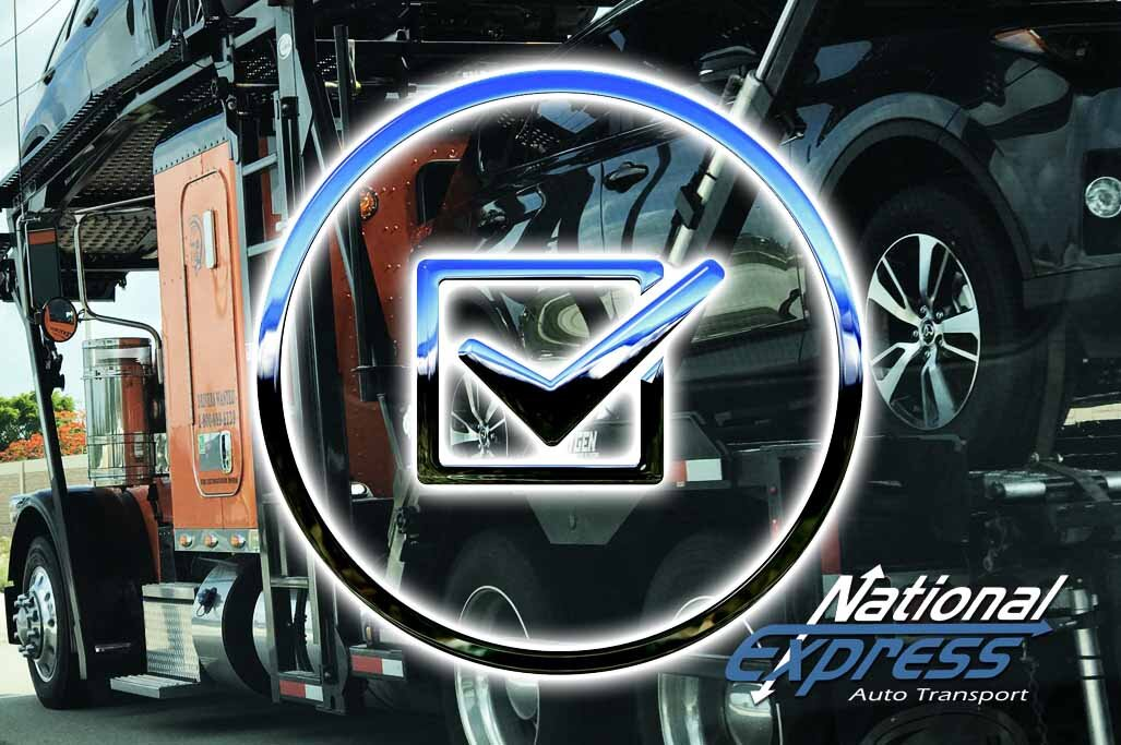 checklist icon with car carrier truck in background