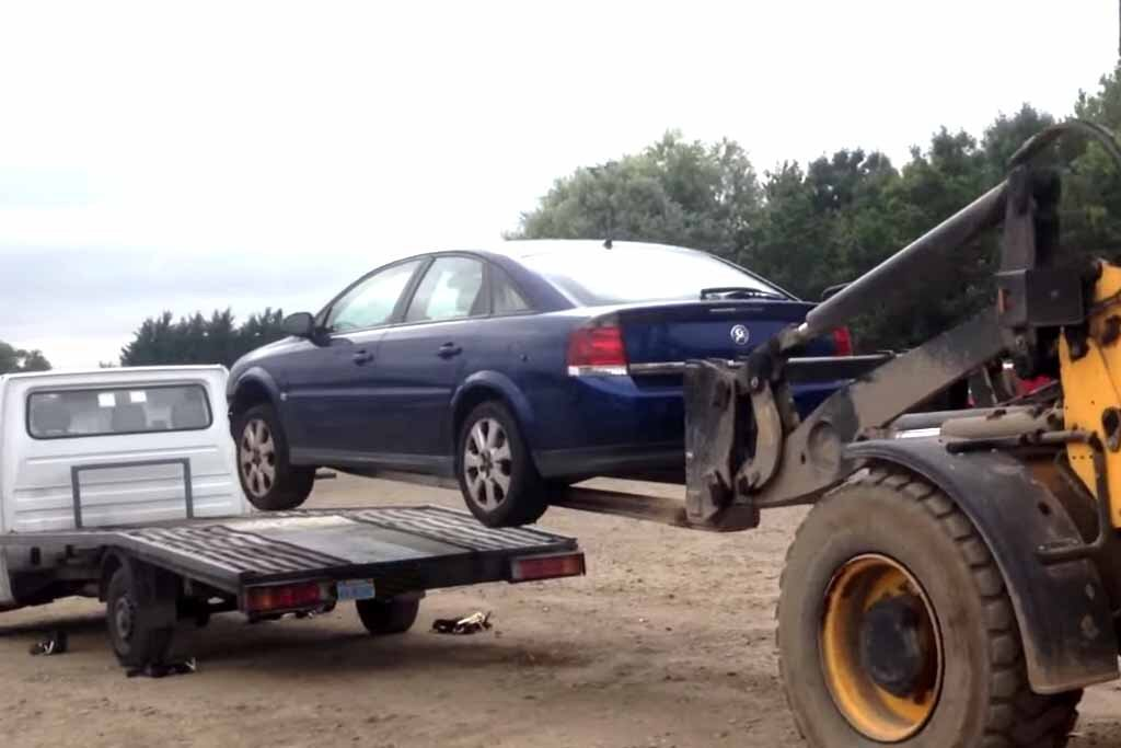 Car on long forklift