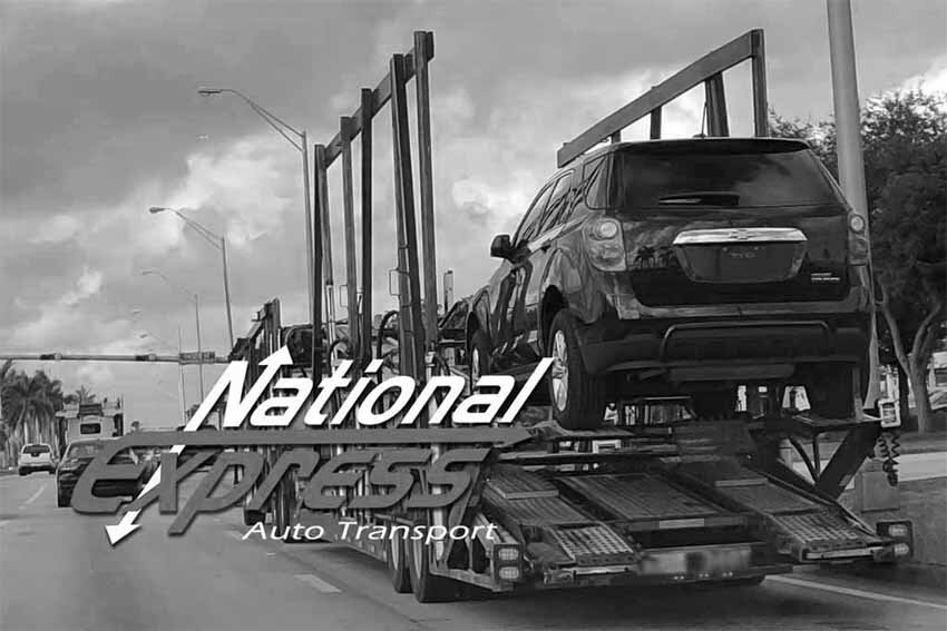 car transportation services - suv on truck - black and white