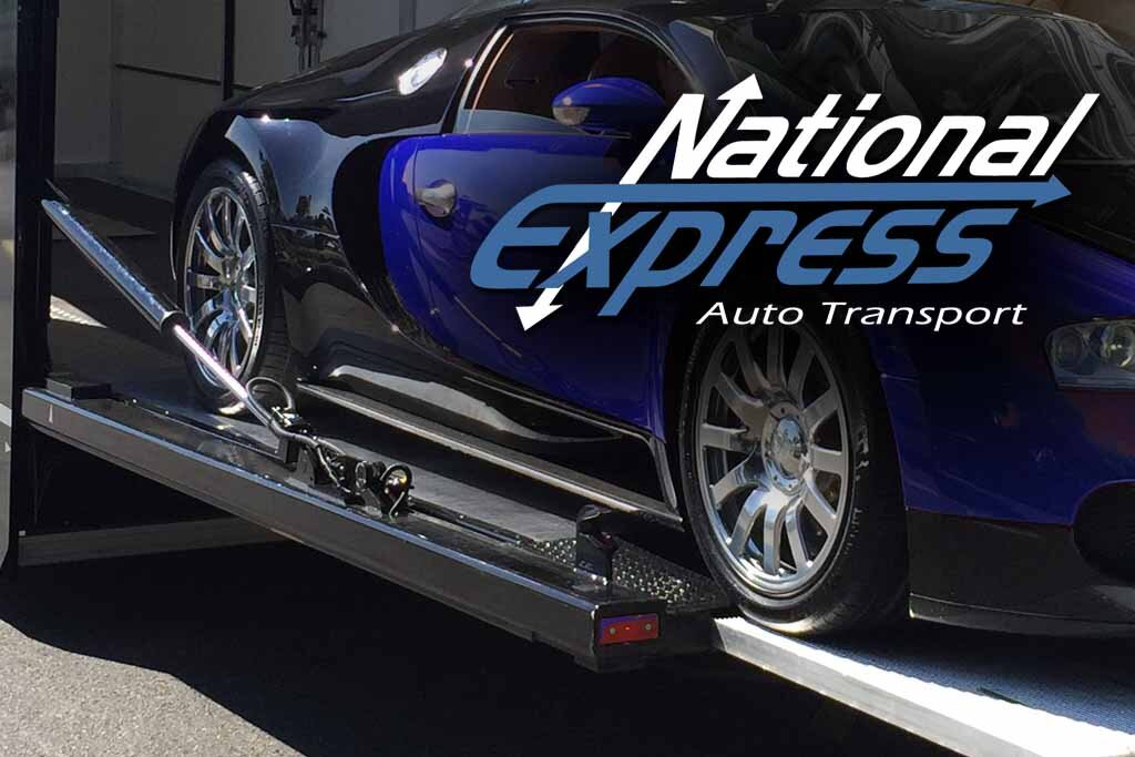 exotic car transport car on liftgate