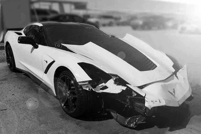 salvage car transport vehicle black and white
