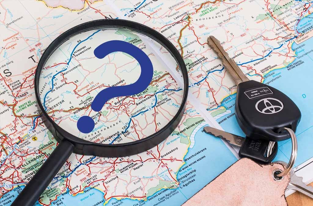 map with hourglass, question mark, and car keys