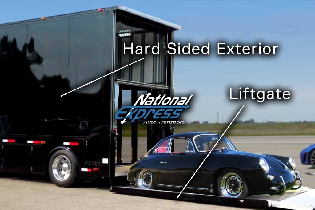 infographic showing hard sided enclosed trailer features