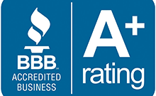 BBB Accredited rating seal with A+ rating