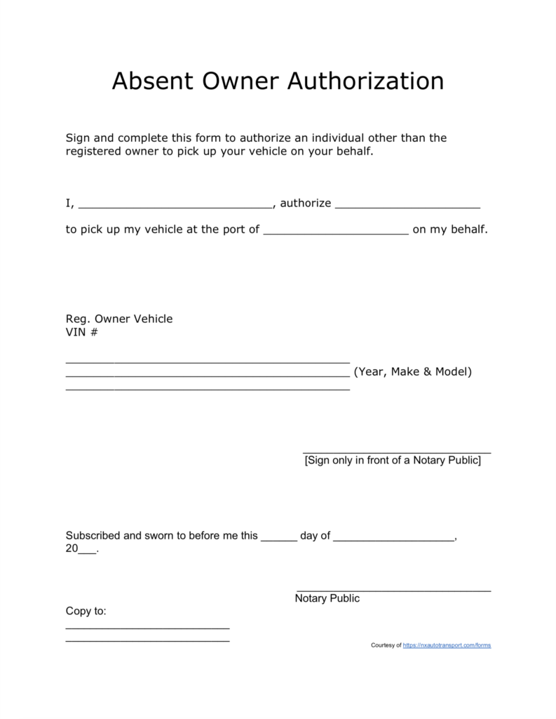 A Free Absent Owner Authorization Form
