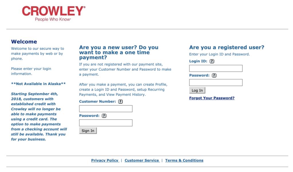 screen shot of crowley payment window