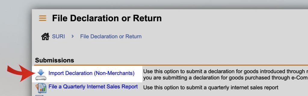 click import declaration non merchants
